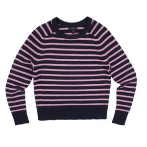 JCREW Navy Wool Holly Crewneck Sweater in Stripe